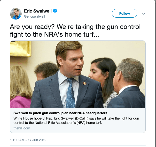 Rep. Eric Swalwell Unveils Gun-Control Plan at NRA Protest of 18 Attendees
